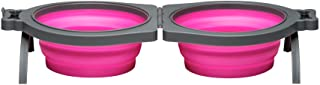 Loving Pets Bella Roma Travel Bowl Double Diner for Dogs, Medium, Pink