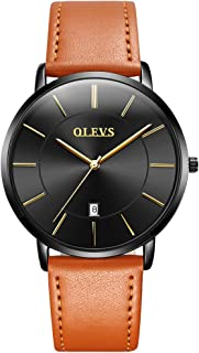 Ultra Thin Men's Watch Genuine Leather Strap Simple Mens Watch Waterproof with Calendar Japan Movement Analog Quartz Watch for Men Fashion Blue/White/Black Big Dial Business Casual Wrist Watches