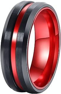 POYA 8mm Black Matte Finish Tungsten Carbide Ring Beveled Edge Red Interior Wedding Band