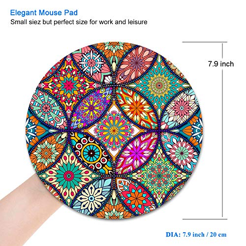 BOSOBO Mouse Pad, Round Mandala Mouse Mat, Cute Mouse Pad with Design, Non-Slip Rubber Base Mousepad with Stitched Edge, Waterproof Women Office Mouse Pads, Small Size 7.9 x 7.9 Inch, Pretty Mandala Photo #8