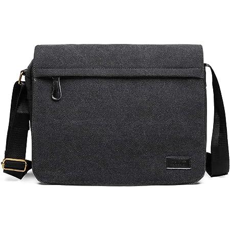 KONO Umhängetasche Leinwand Schultertasche Groß Messenger Bag 13 Zoll Segeltuch Tasche für Arbeit Uni (Schwarz)