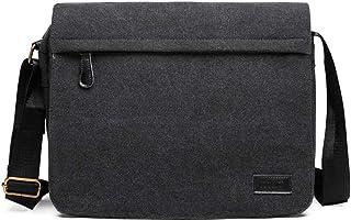 Kono Umhängetasche Leinwand Schultertasche Groß Messenger Bag 13 Zoll Segeltuch Tasche für Arbeit Uni Schwarz