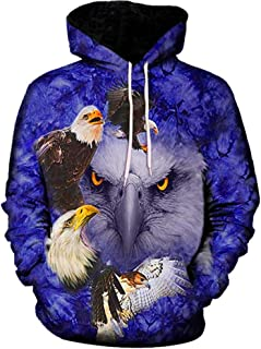 Star_wuvi Men's Novelty 3D Eagle Printed Hoodie Drawstring Hooded Pullover Tops Sweatshirt with Front Pocket, M~5XL