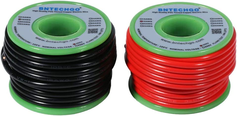 BNTECHGO 18 Gauge PVC 1007 Solid Electric Wire Red and Black Eac