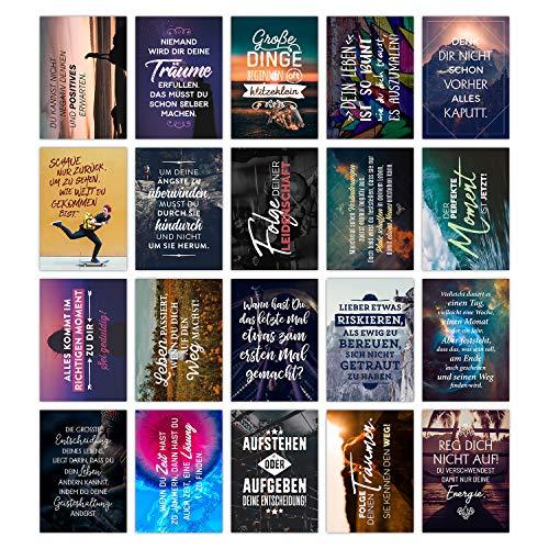 TypeStoff 20er Postkarten-Spar-Set – Motivation – DIN A6, 20 Verschiedene Motive mit Sprüchen, Zitaten und Aphorismen DIN A6 (Motivation)