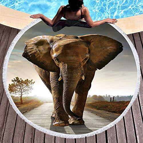NOBRAND Redondo Lindo Elefante Gris Impreso Toalla De Playa Máquina Lavable Manta De Fibra Superfina Tapicería De Toalla Comprimida Rápida Estera De Yoga