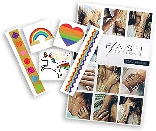 RAINBOW GLAM BUNDLE includes Flash Tattoos colorful rainbow-inspired Rainbow Variety Set (25 tats) and Josephine 4-sheet pack