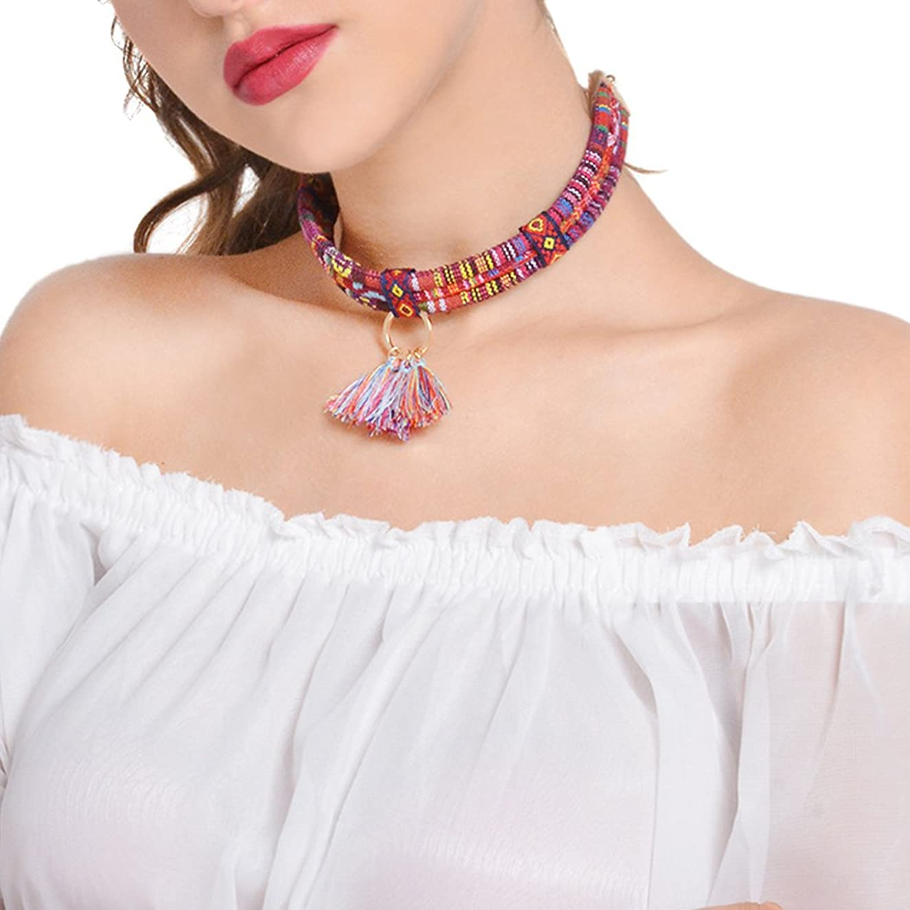 Simsly Bohemian Choker Necklace Jewelry with Multi Color Tassels Pendant for Women and Girls XL-0178