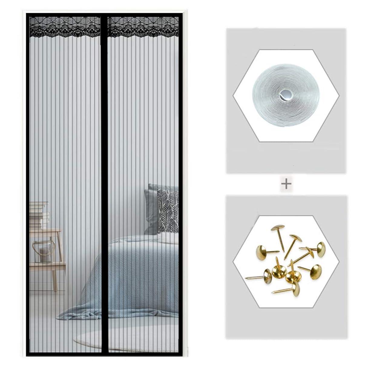 シーサイド同等の世界的に35x95inの磁石、黒いハンズフリーの頑丈な網のカーテンが付いているスクリーンのドアスクリーンの磁石は子供およびペットとうまく働きます,40x92in/100x230CM