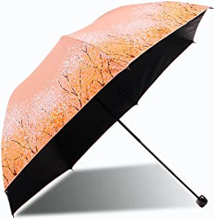 SUP-MANg Ultralight Sun Protection UV Umbrella, Ladies Folding Easy to Carry Windproof Umbrella (Color : Orange)