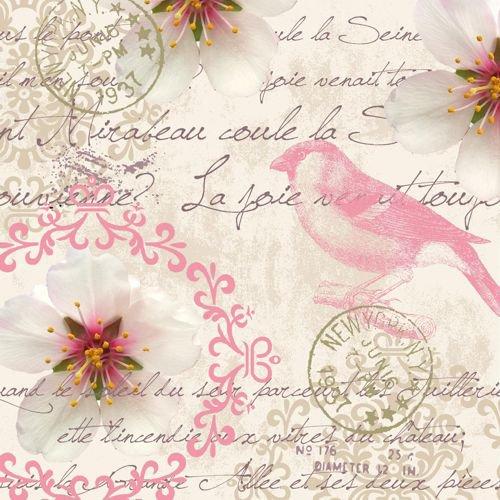 20 Servietten Rosa Vogel an Vintage Elemente/Blumen/Schrift 33x33cm