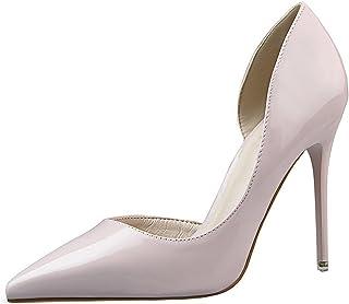 55cdbf51709fa2 OALEEN Escarpin Vernis Femme Eté Sexy Bout Pointu Côté Ouvert Chaussures  Talon Haut Aiguille