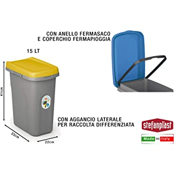 Stefanplast Pattumiera Home Eco System 15 lt componibile modulare sottolavello con coperchio differenziata Grigio//Giallo