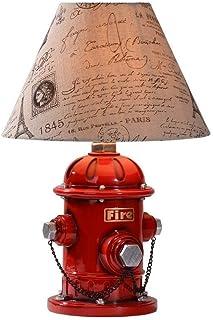 GH-YS Kinder Feuertischlampe Amerikanische Schreibtischlampe Schlafzimmer Nachttischlampe Europäische Kreative Retro Wohnz...