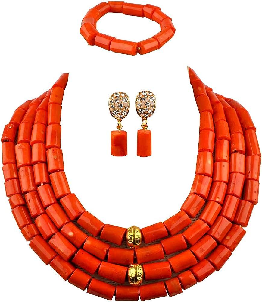 laanc Nigerian Wedding African Bead Orange Coral 4 Rows Necklace Bracelet Earrings Bride Jewelry Set