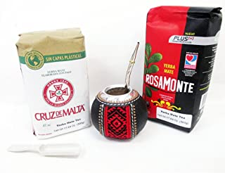1 Argentina Mate Gourd Cup Straw Bombilla Yerba Rosamonte Cruz Malta Tea Bag Kit