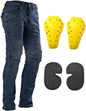 Motorcycle Riding Jeans Armor Racing Cycling Pants with 4 Knee Hip Protective Pads (M=30, Blue)