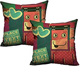 Funny,Couple Pillowcase Caricature Monster Grungy 20