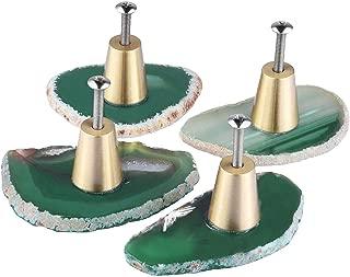 rockcloud Pack of 4 Agate Slice Cabinet Drawer Knobs Cupboard Dresser Door Pull Home Decorative Furniture Hardware, Green