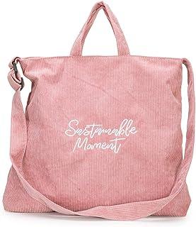 Generic New Women's Corduroy Handbag Shoulder Messenger Bag Satchel Tote Handle Purse Bags Pink
