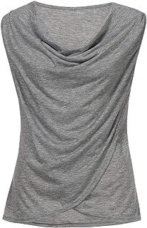 Dubocu Women's Summer Sleeveless Solid Casual Cotton Blouse Top Tank Vest Shirt