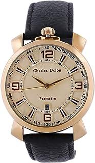 Charles Delon Mens Quartz Watch, Analog Display and Leather Strap 5703 GGCB