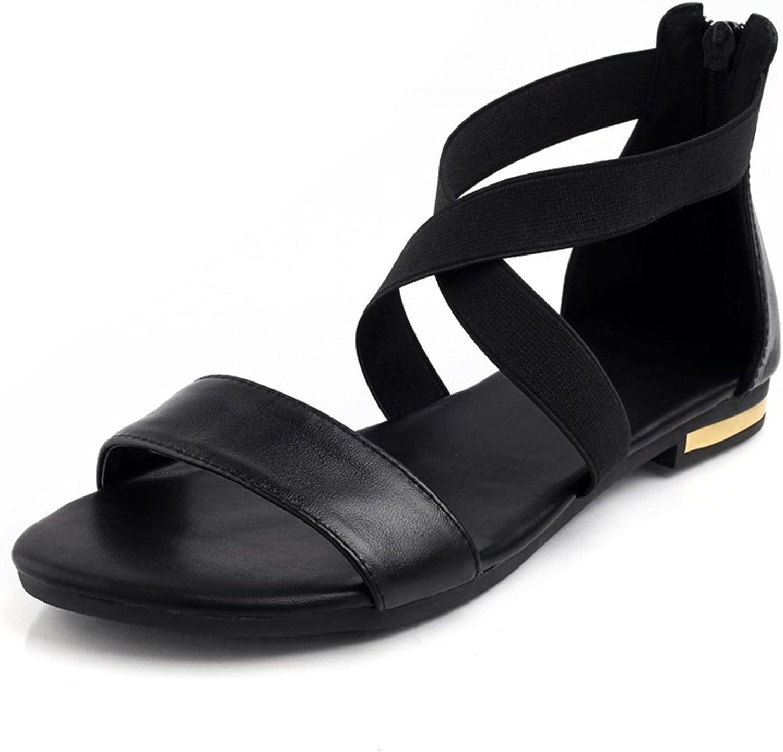 ZHOUZJ Leather Women Sandals Fashion Summer Sweet Female Flats Heel Sandals Ladies shoes