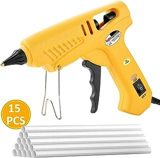 Pistola de Silicona 100W, POOPHUNS Pistola de Pegamento Profesional Brass Nozzle Heats Up con 15pcs 11mm Barras para Bricolaje, Pistolas Encolar Kit para Arte,Empaques,Reparaciones y en el hogar