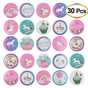 TUPARKA 30 Piezas Pins Unicornio Botones Insignias del Arco Iris Pin Backs para Ropa Mochilas Mochilas, favores de…