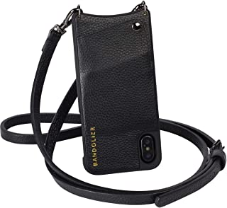 Bandolier [Emma] Crossbody Phone Case and Wallet - Compatible with iPhone 8, 7, 6 Only - Black Pebble Leather with Pewter Detail