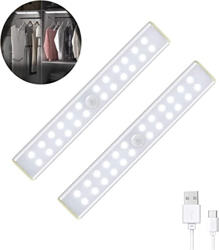 Tobeape Under Cabinet Lights,USB Rechargeable Motion Sensor Closet Lights,Portable 24 LED Magnetic Night Lights with ...