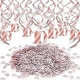 Qpout Decoraciones de remolinos Colgantes de Oro Rosa (30 Cuentas) Confeti de Mesa de Estrella de Oro Rosa (30 g) por aplausos a 10 años Aniversario Cumpleaños Boda Fiesta Inicio Decoración de Mesa