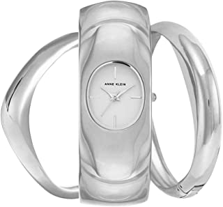 Anne Klein Women's Silver-Tone Bangle Bracelet Watch & Bangle Bracelets Set 30mm AK/2637SVST