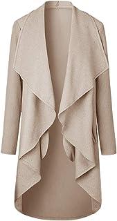 HAHAEMMA Damen Maxi Offene Cardigan Strickjacke Asymmetrisch Strickmantel Mantel mit Tasche Fleece Mantel Winter Frühling Reverskragen Lang Umstandsbekleidung Jacke