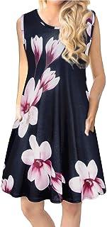 Tanst Women Summer Sleeveless Damask Print T-Shirt Dress with Pockets(S-3XL)