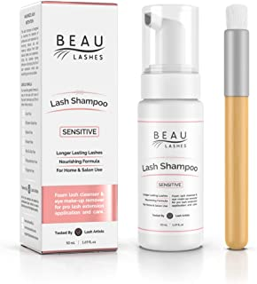 Eyelash Extension Foam Cleanser Shampoo & Brush (50ml) - Sensitive Paraben & Sulfate Free Eyelid/Lash Foaming Wash Cleaner To Remove Makeup Residue & Mascara - Perfect For Salon Use And Home Care