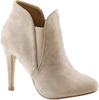 Bella Marie Women's Soft Round Toe Elastic Cut Out Stiletto Booties