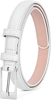 LEACOOLKEY Women Skinny PU Leather Dress Belt for Jeans Pants Silver Buckle