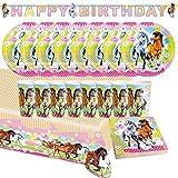 Unbekannt Fiesta Fije el Cumpleaños de los Niños, Motiv Horses, 38 Piezas Mug Plate Servilletas Mantel Joyería Cumpleaños Decorativo Vajilla Desechable (Caballos)