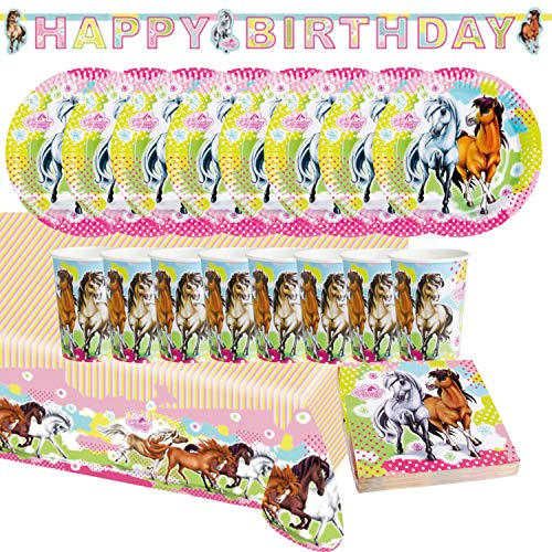 Unbekannt Party Set Compleanno per Bambini, Motiv Horses, 38 Pezzi Mug Tovagliolo Piatto Tovaglia Gioielli Compleanno Decorativo Stoviglie USA E Getta (Cavalli)