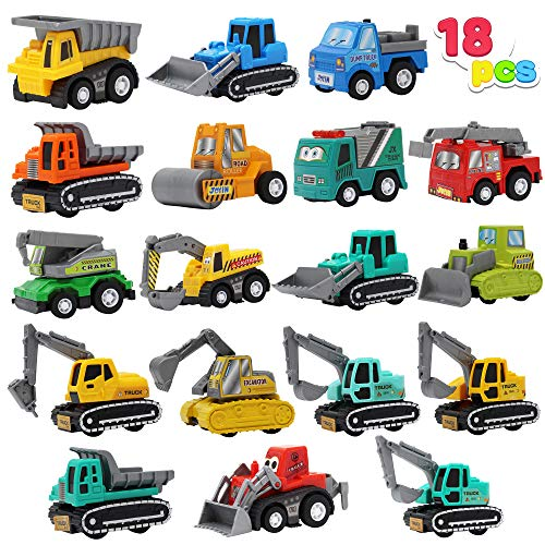 JOYIN 18 Piece Pull Back Car Assorted Mini Truck Model Car, Friction Powered Race Cars Vehicle Set for Toddlers, Boys, and Girls' Educational Pretend Play
