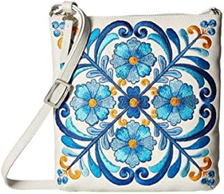Casablanca Garden Ivory Leather Blue Embroidered Pouch Crossbody Purse