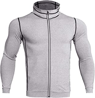 Men's Sports Shirt,Functional Hoodie Men Long-Sleeved Shirt Men,Sweatshirt Stretch Compression Hoody,Fitness Running Shirt...