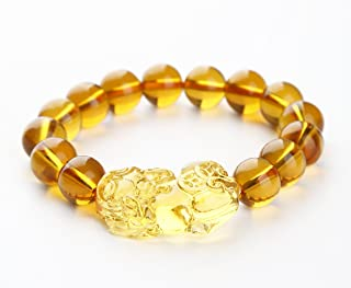 Wenmily Feng Shui Citrine Gem Stone Wealth Porsperity 12mm Bracelet with Pi Xiu/Pi Yao, Attract Wealth and Good Luck, Deluxe Gift Box Included