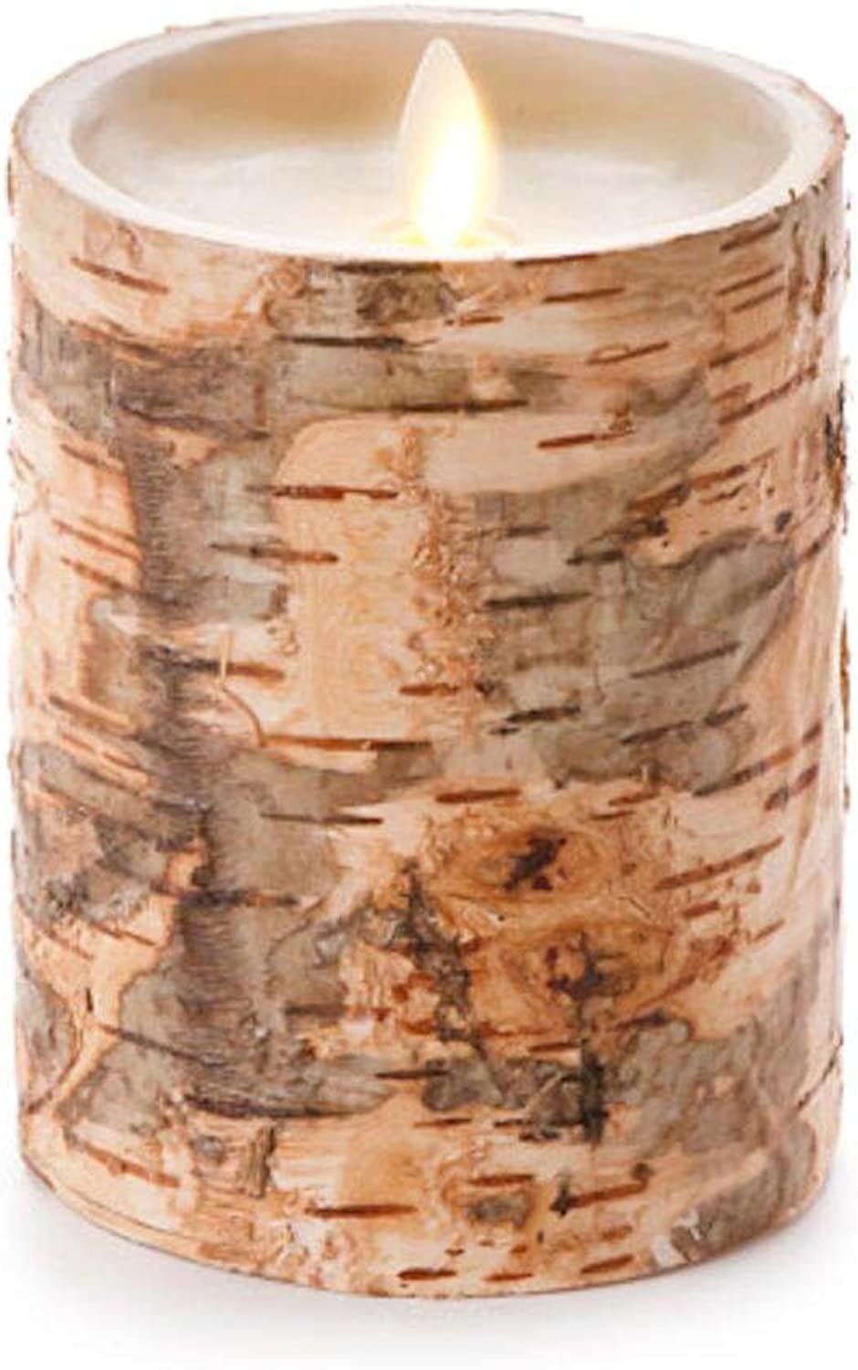 Darice Luminara Unscented Flameless Pillar Candle Embedded W Birch - 4 X 5 In