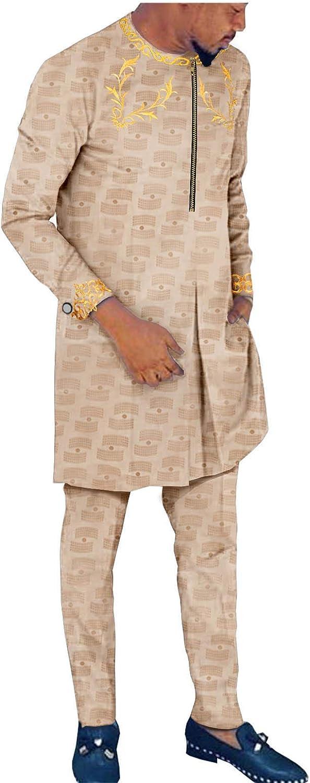 African Clothing for Men Dashiki Printed Coats Ankara Pants 2 Piece Set Jacket Outwear for Party Wedding