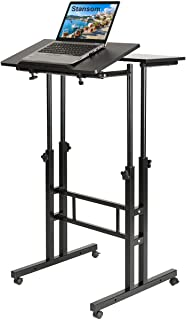 Stansom Mobile Standing Desk, Adjustable Rolling Laptop Desk & Computer Monitor Stand with Wheels Home Office Workstation,...