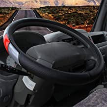 JASZW Car Steering Wheel Cover/PU Leather,for Full Seasons,14 inch to 19 inch/36cm to 50cm,Universal Fit for Auto/Truck/SUV/Van