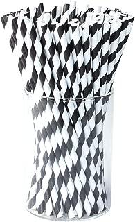 paper straws black and white