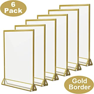 TOROTON Clear Acrylic Sign Holder with Gold Borders and Vertical Stand, 8.5 x 11 Double Sided Table Display for Wedding Table, Photos Display - Pack of 6